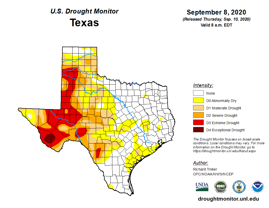 Texas Drought Monitor shows what areas in Texas are in drought conditions.